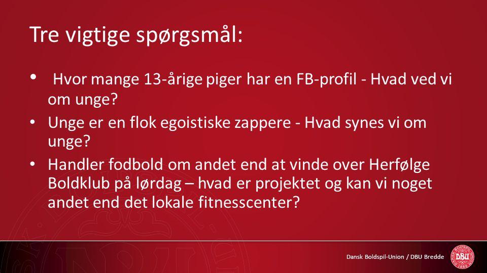 Dansk Boldspil-Union / DBU Bredde Tre vigtige spørgsmål: • Hvor mange 13-årige piger har en FB-profil - Hvad ved vi om unge? • Unge er en flok egoisti