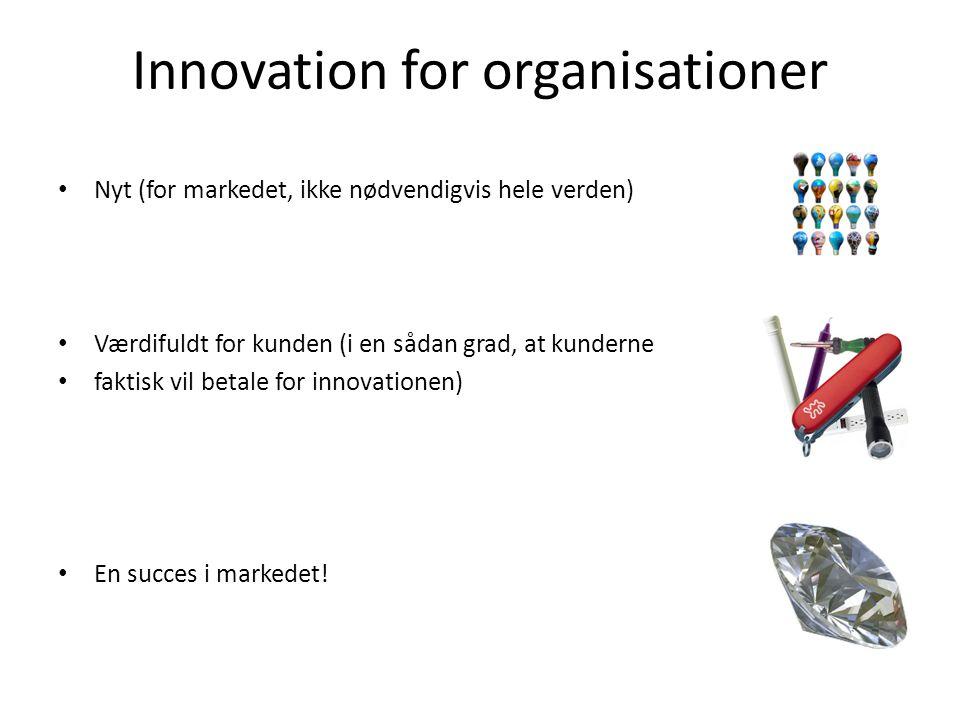Innovation for organisationer • Nyt (for markedet, ikke nødvendigvis hele verden) • Værdifuldt for kunden (i en sådan grad, at kunderne • faktisk vil betale for innovationen) • En succes i markedet!