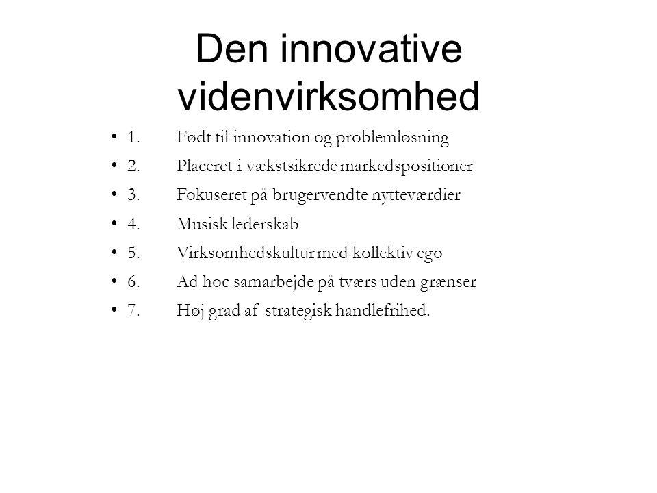 Den innovative videnvirksomhed • 1.Født til innovation og problemløsning • 2.Placeret i vækstsikrede markedspositioner • 3.Fokuseret på brugervendte nytteværdier • 4.Musisk lederskab • 5.Virksomhedskultur med kollektiv ego • 6.Ad hoc samarbejde på tværs uden grænser • 7.Høj grad af strategisk handlefrihed.