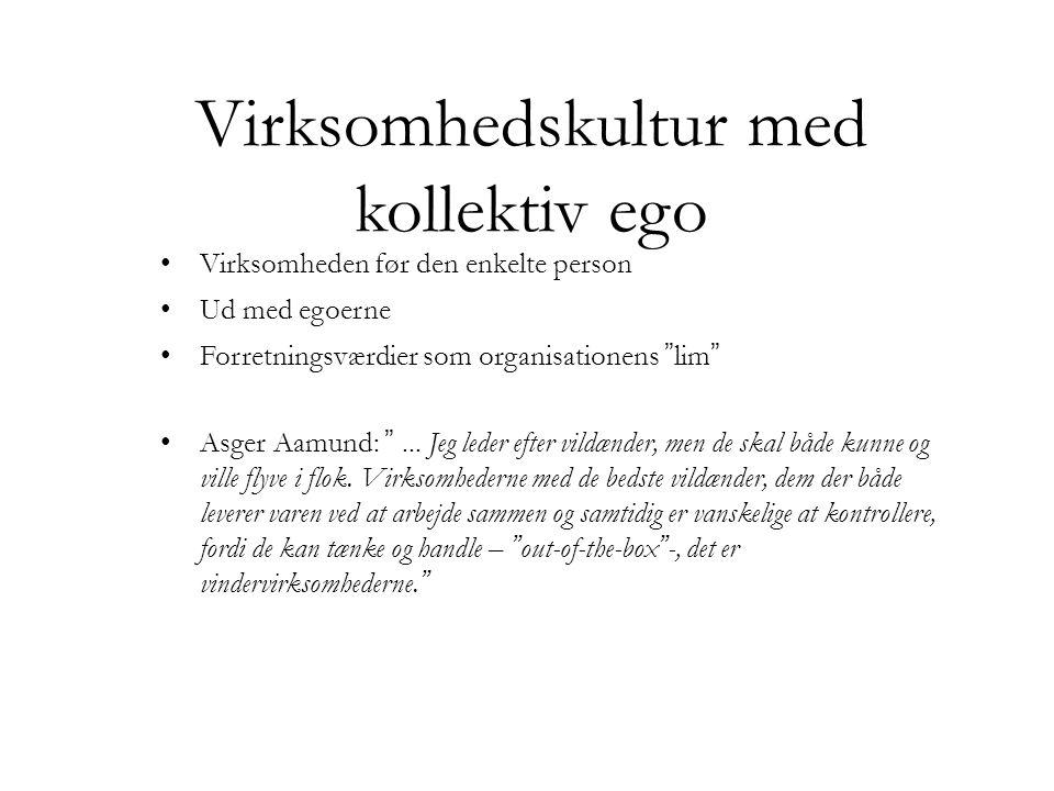 Virksomhedskultur med kollektiv ego • Virksomheden før den enkelte person • Ud med egoerne • Forretningsværdier som organisationens lim • Asger Aamund: ...