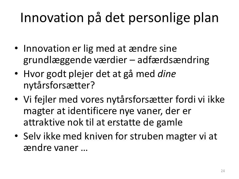 Innovation på det personlige plan • Innovation er lig med at ændre sine grundlæggende værdier – adfærdsændring • Hvor godt plejer det at gå med dine nytårsforsætter.