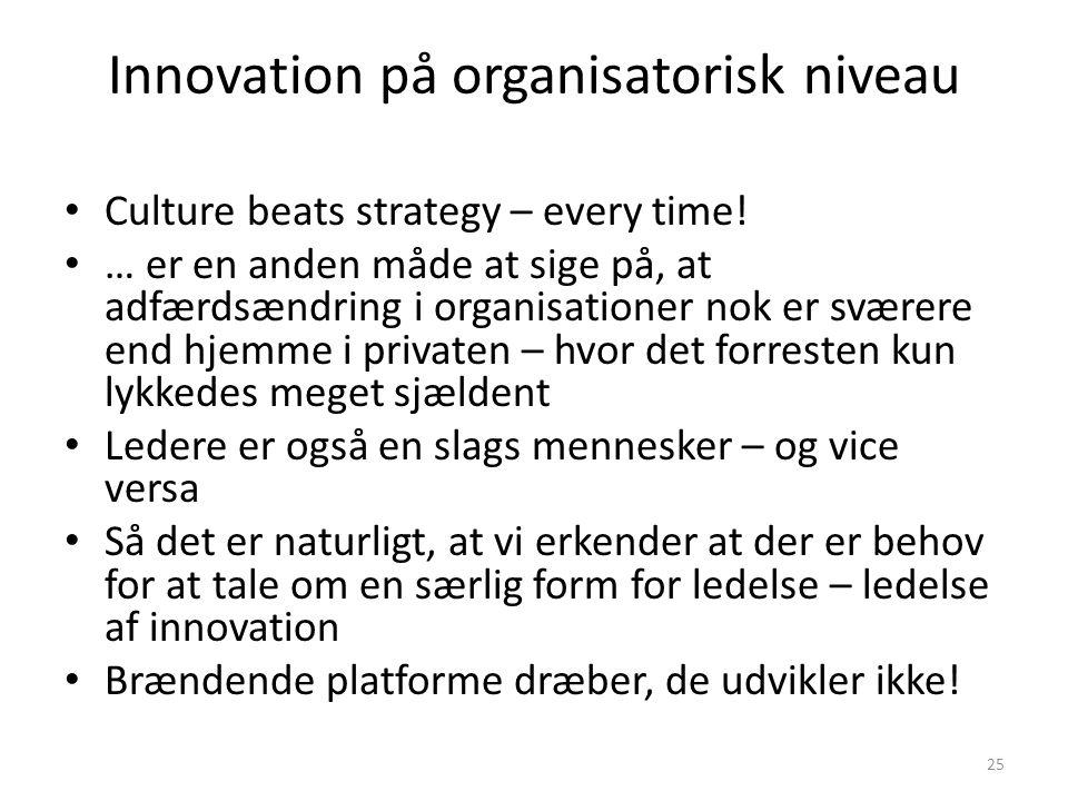 Innovation på organisatorisk niveau • Culture beats strategy – every time.