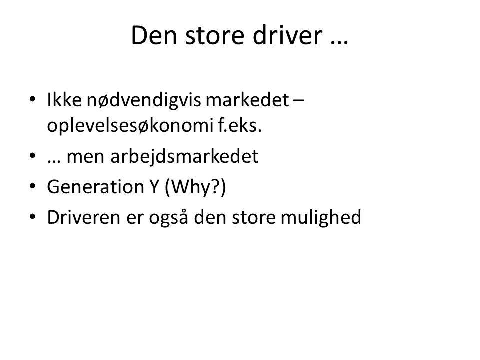 Konkurrence for danske organisationer • To måder at skabe konkurrenceevne på' • Skalaøkonomi eller fokus – differentiering - niche • Danmark er en nichenation – det samme er vort erhvervsliv og uddannelsesinstitutioner nødvendigvis nødt til at være • We need to focus!