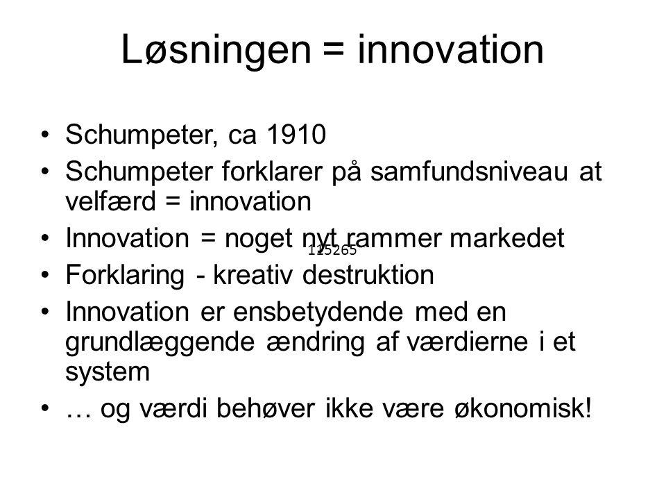 Løsningen = innovation •Schumpeter, ca 1910 •Schumpeter forklarer på samfundsniveau at velfærd = innovation •Innovation = noget nyt rammer markedet •Forklaring - kreativ destruktion •Innovation er ensbetydende med en grundlæggende ændring af værdierne i et system •… og værdi behøver ikke være økonomisk.