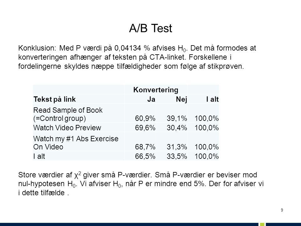 9 Konklusion: Med P værdi på 0,04134 % afvises H 0. Det må formodes at konverteringen afhænger af teksten på CTA-linket. Forskellene i fordelingerne s