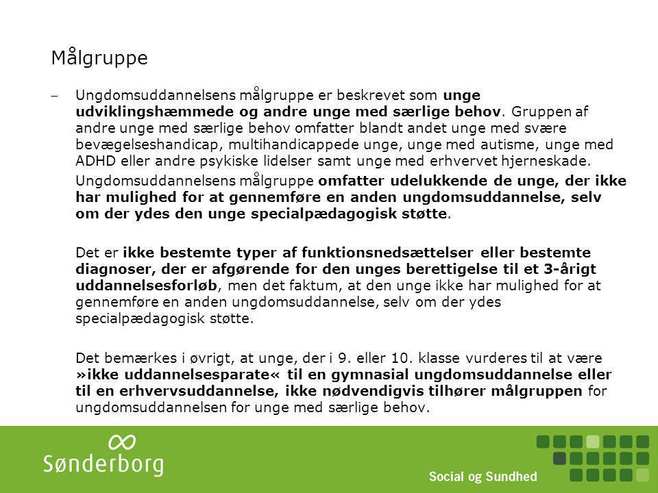 STU – koordinering, opfølgning, udslusning Koordineringsgruppe sikrer afdækning af behov for bostøtte, fritidstilbud, forsørgelse Uddannelsesplanen følges op en gang årligt (STU Sønderborg + UU vejleder).