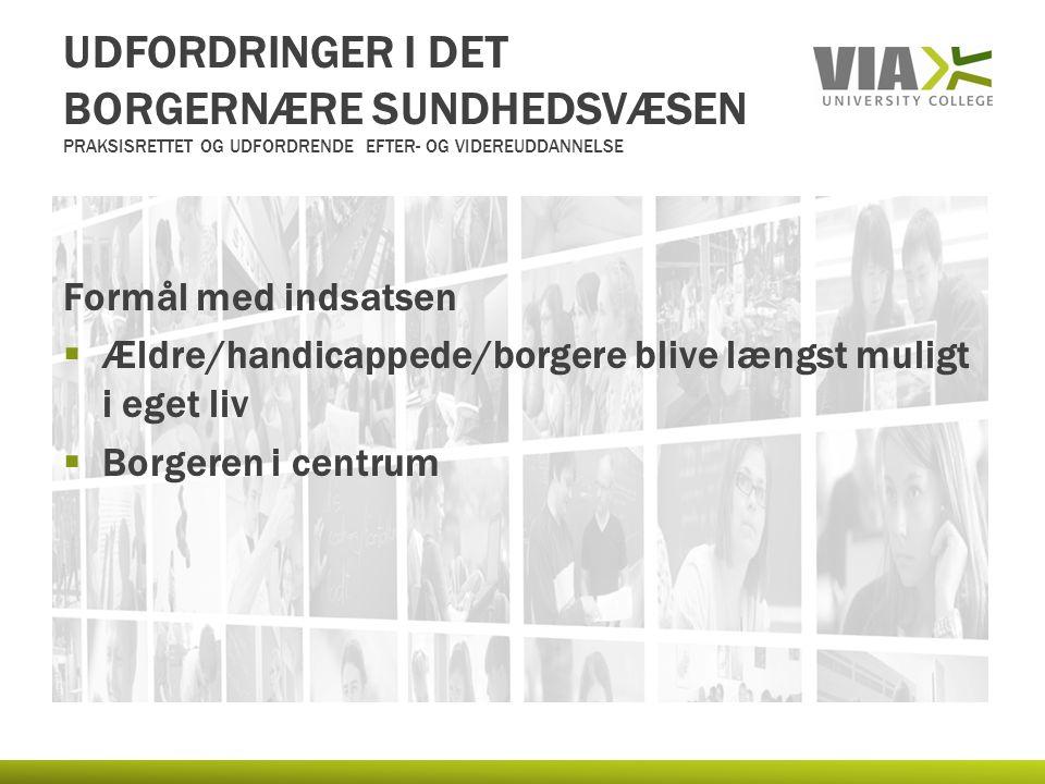UDFORDRINGER I DET BORGERNÆRE SUNDHEDSVÆSEN PRAKSISRETTET OG UDFORDRENDE EFTER- OG VIDEREUDDANNELSE Formål med indsatsen  Ældre/handicappede/borgere