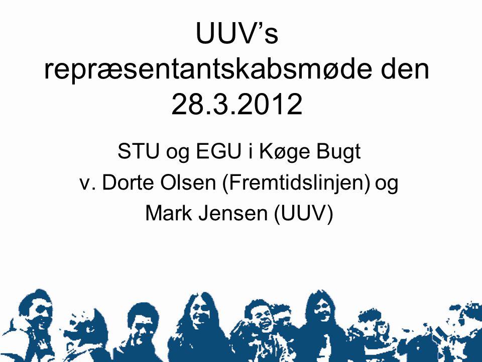 UUV's repræsentantskabsmøde den 28.3.2012 STU og EGU i Køge Bugt v. Dorte Olsen (Fremtidslinjen) og Mark Jensen (UUV)