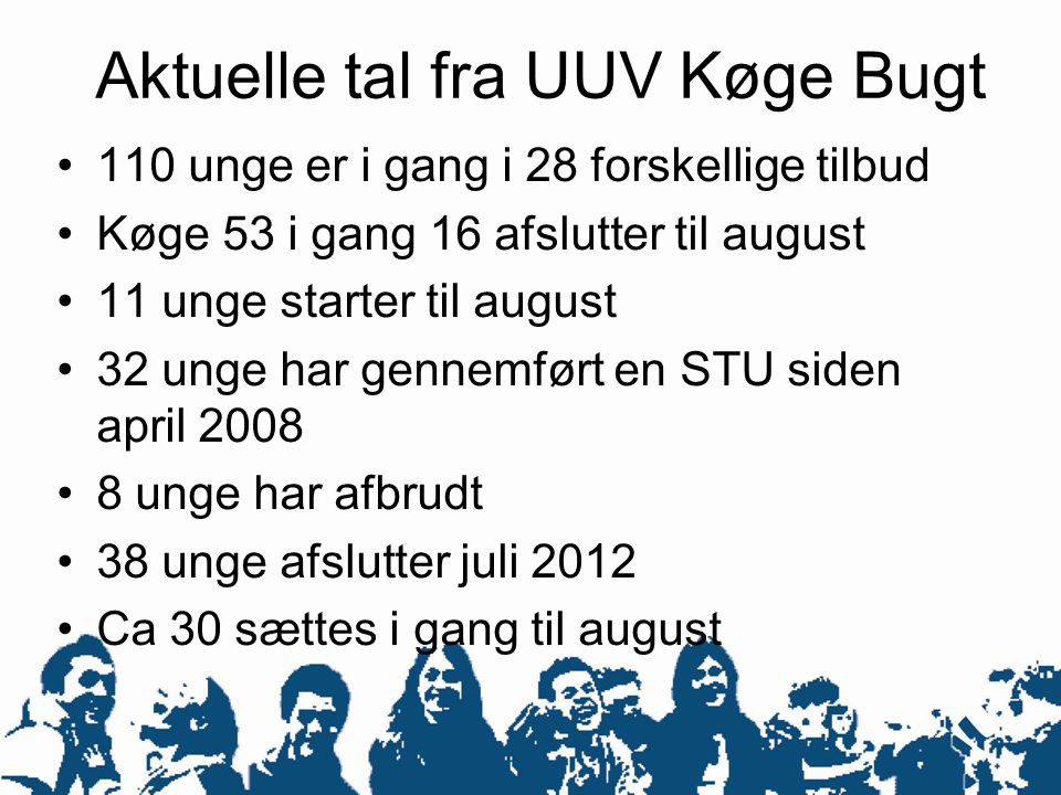 Aktuelle tal fra UUV Køge Bugt •110 unge er i gang i 28 forskellige tilbud •Køge 53 i gang 16 afslutter til august •11 unge starter til august •32 unge har gennemført en STU siden april 2008 •8 unge har afbrudt •38 unge afslutter juli 2012 •Ca 30 sættes i gang til august