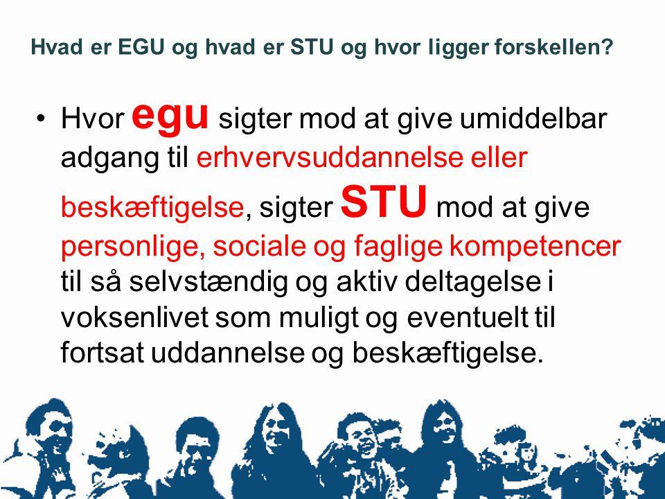 •Hvor egu sigter mod at give umiddelbar adgang til erhvervsuddannelse eller beskæftigelse, sigter STU mod at give personlige, sociale og faglige kompetencer til så selvstændig og aktiv deltagelse i voksenlivet som muligt og eventuelt til fortsat uddannelse og beskæftigelse.