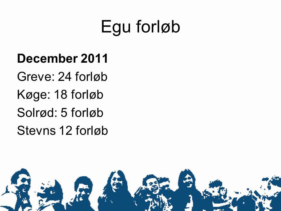 Egu forløb December 2011 Greve: 24 forløb Køge: 18 forløb Solrød: 5 forløb Stevns 12 forløb