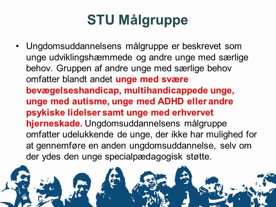 STU Målgruppe •Ungdomsuddannelsens målgruppe er beskrevet som unge udviklingshæmmede og andre unge med særlige behov. Gruppen af andre unge med særlig
