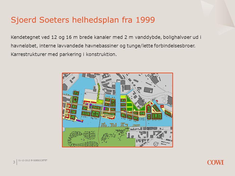 01-10-2013 BYGGESOCIETET 3 Sjoerd Soeters helhedsplan fra 1999 Kendetegnet ved 12 og 16 m brede kanaler med 2 m vanddybde, bolighalvøer ud i havneløbe