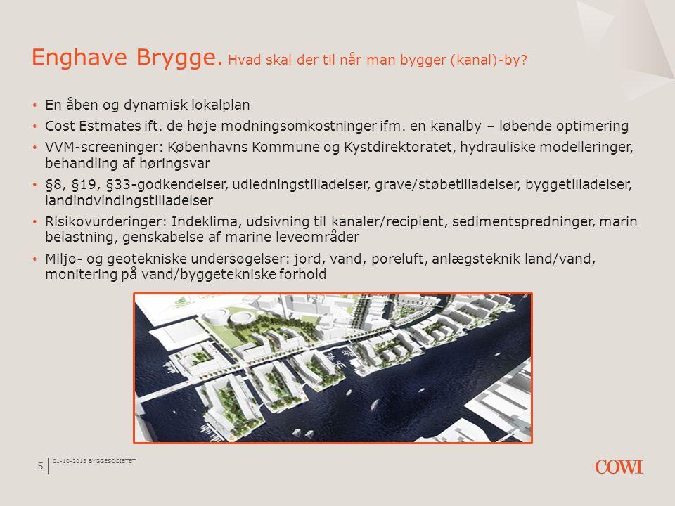 01-10-2013 BYGGESOCIETET 5 Enghave Brygge. Hvad skal der til når man bygger (kanal)-by? • En åben og dynamisk lokalplan • Cost Estmates ift. de høje m
