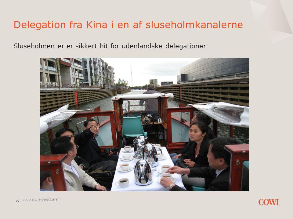 01-10-2013 BYGGESOCIETET 9 Delegation fra Kina i en af sluseholmkanalerne Sluseholmen er er sikkert hit for udenlandske delegationer