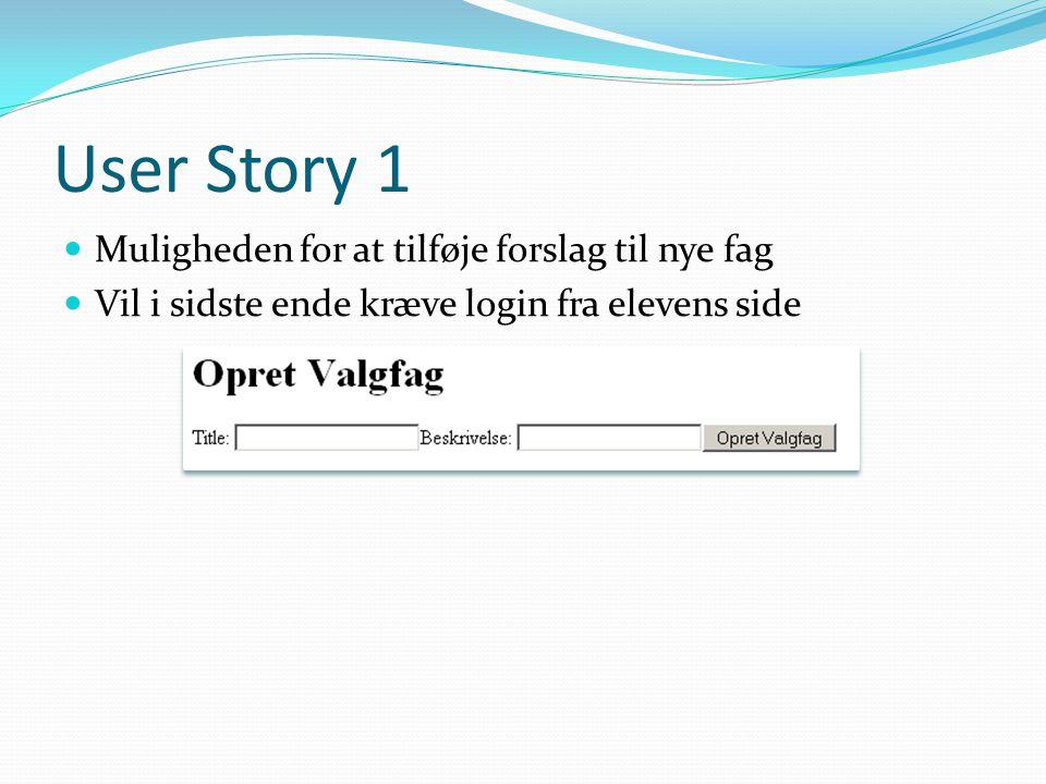 User Story 1  Muligheden for at tilføje forslag til nye fag  Vil i sidste ende kræve login fra elevens side