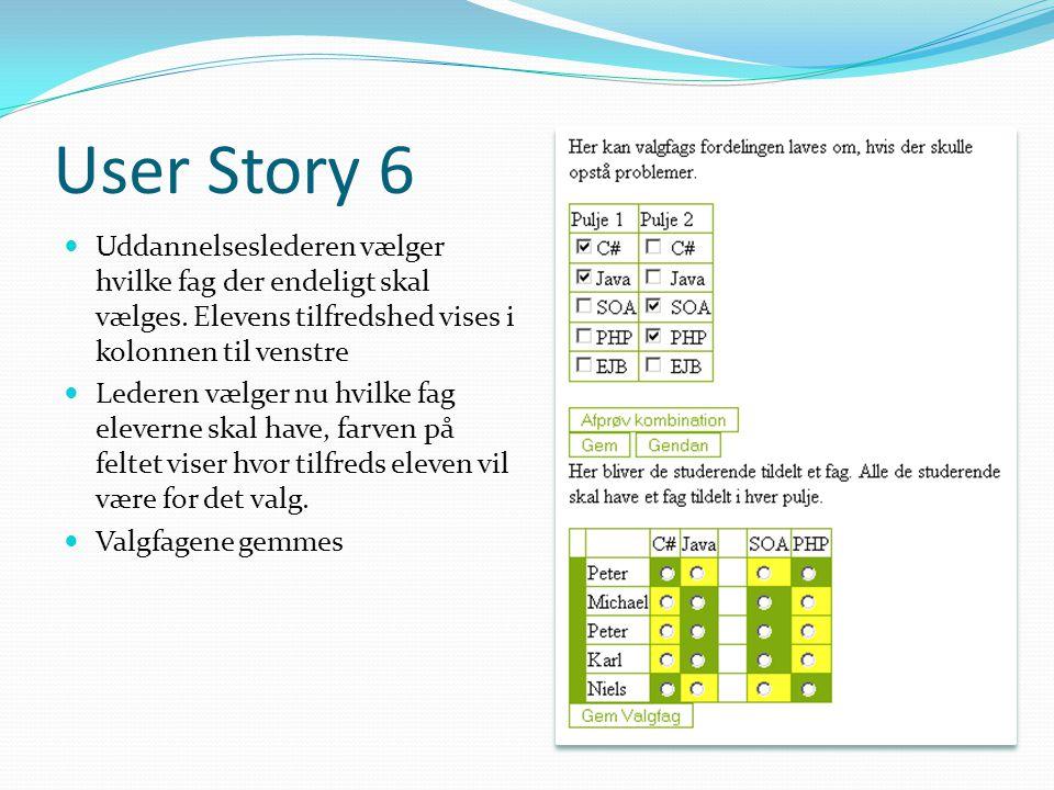User Story 6  Uddannelseslederen vælger hvilke fag der endeligt skal vælges.