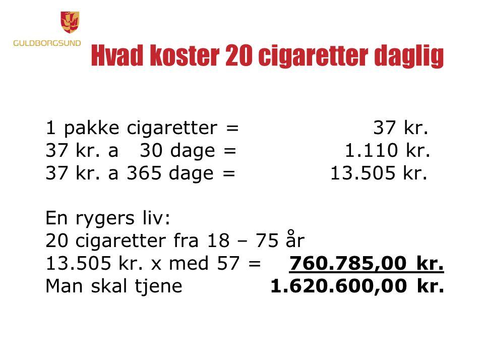 Hvad koster 20 cigaretter daglig 1 pakke cigaretter = 37 kr.