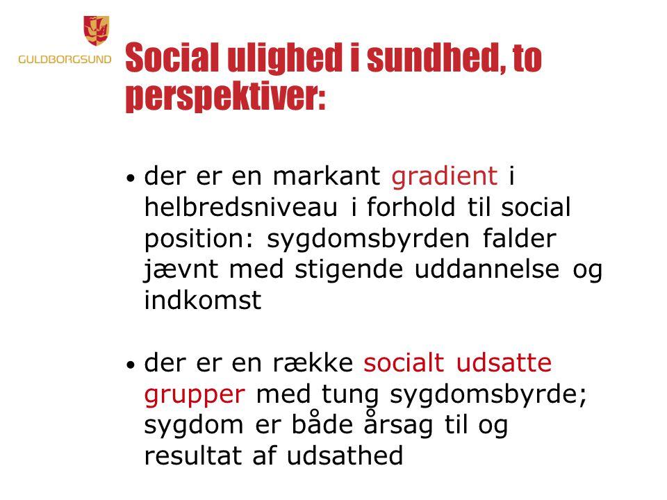 Social ulighed i sundhed, to perspektiver: • der er en markant gradient i helbredsniveau i forhold til social position: sygdomsbyrden falder jævnt med stigende uddannelse og indkomst • der er en række socialt udsatte grupper med tung sygdomsbyrde; sygdom er både årsag til og resultat af udsathed