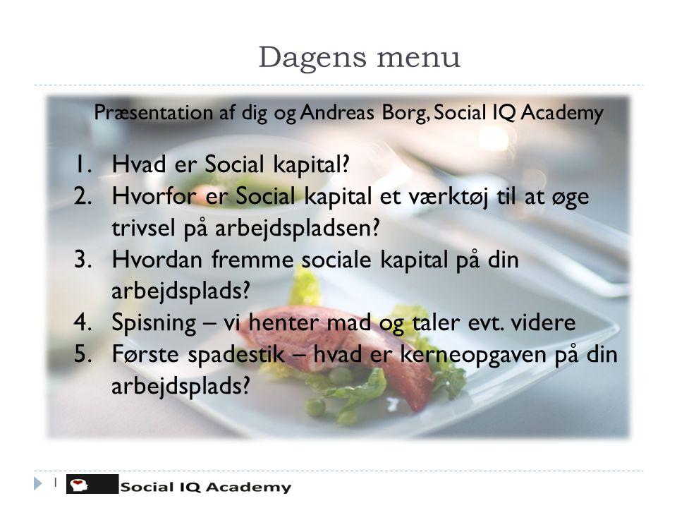 Dagens menu 1 Præsentation af dig og Andreas Borg, Social IQ Academy 1.Hvad er Social kapital? 2.Hvorfor er Social kapital et værktøj til at øge trivs