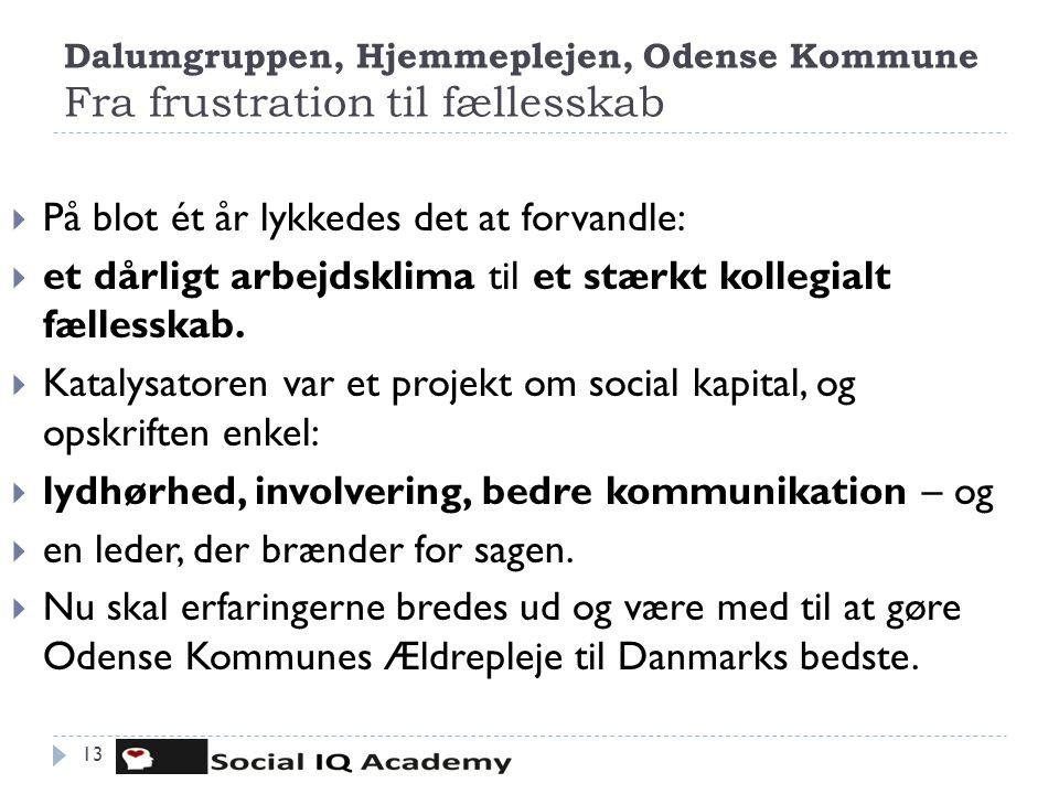 Dalumgruppen, Hjemmeplejen, Odense Kommune Fra frustration til fællesskab 13  På blot ét år lykkedes det at forvandle:  et dårligt arbejdsklima til
