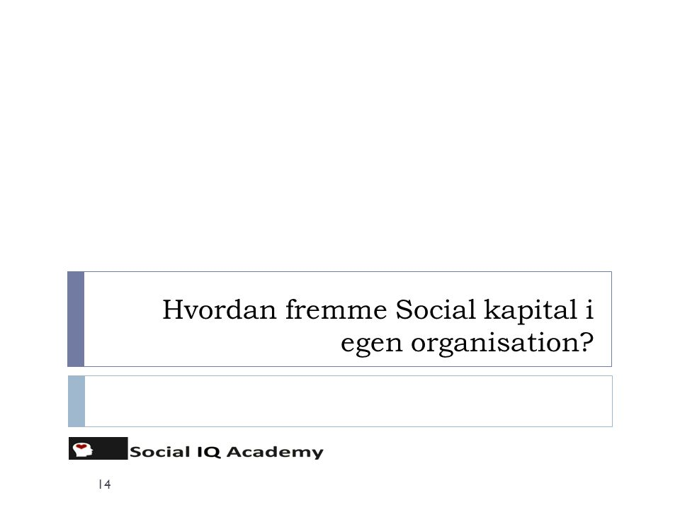 Hvordan fremme Social kapital i egen organisation? 14