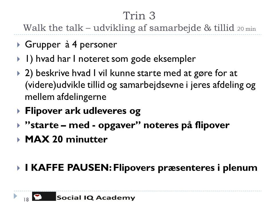 Trin 3 Walk the talk – udvikling af samarbejde & tillid 20 min 18  Grupper à 4 personer  1) hvad har I noteret som gode eksempler  2) beskrive hvad