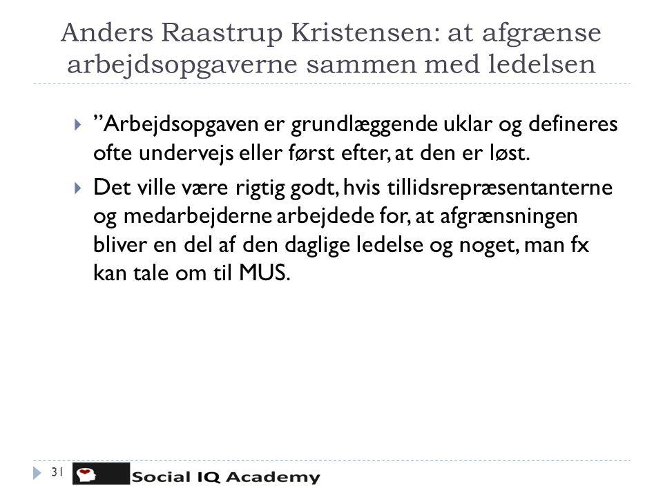 """Anders Raastrup Kristensen: at afgrænse arbejdsopgaverne sammen med ledelsen  """"Arbejdsopgaven er grundlæggende uklar og defineres ofte undervejs elle"""