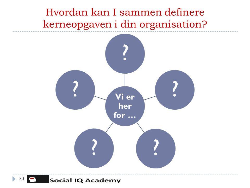 Hvordan kan I sammen definere kerneopgaven i din organisation? 33 Vi er her for … ?????