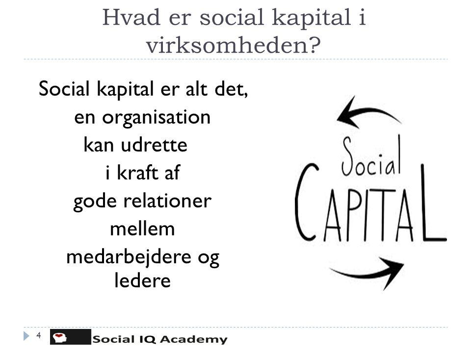 Hvad er social kapital i virksomheden? 4 Social kapital er alt det, en organisation kan udrette i kraft af gode relationer mellem medarbejdere og lede