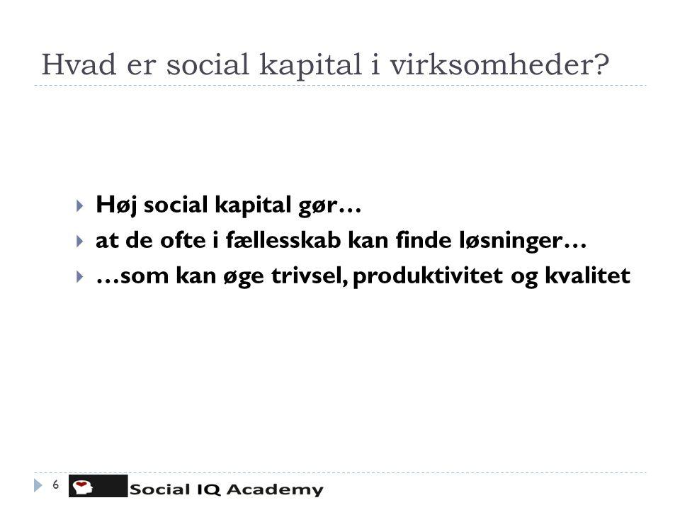 Hvad er social kapital i virksomheder? 6  Høj social kapital gør…  at de ofte i fællesskab kan finde løsninger…  …som kan øge trivsel, produktivite