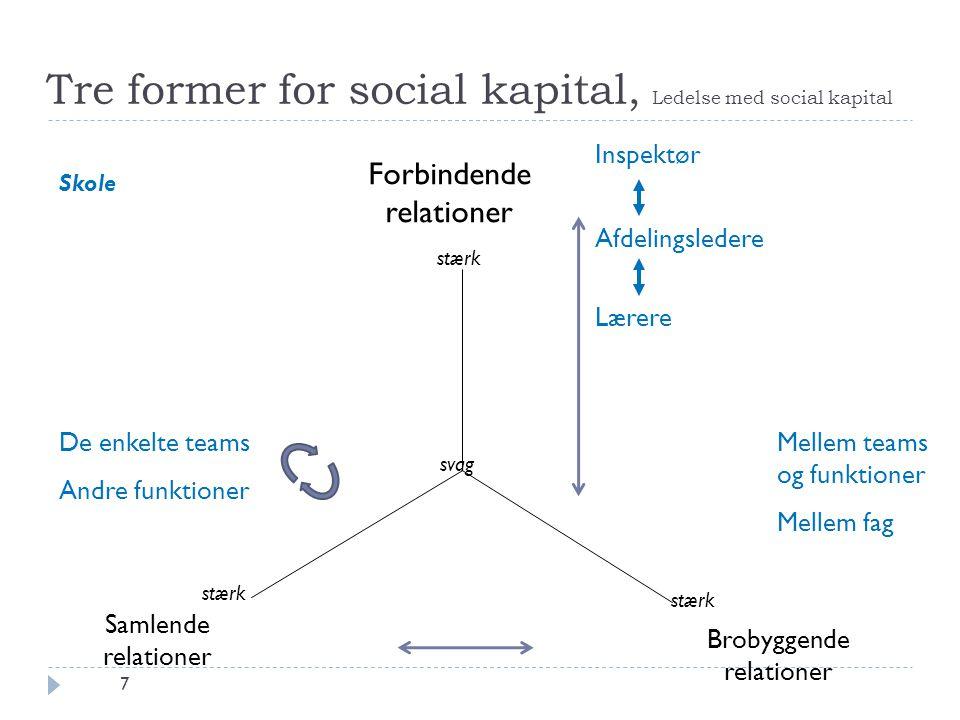 Tre former for social kapital, Ledelse med social kapital 7 svag Brobyggende relationer Samlende relationer Forbindende relationer stærk Inspektør Afd