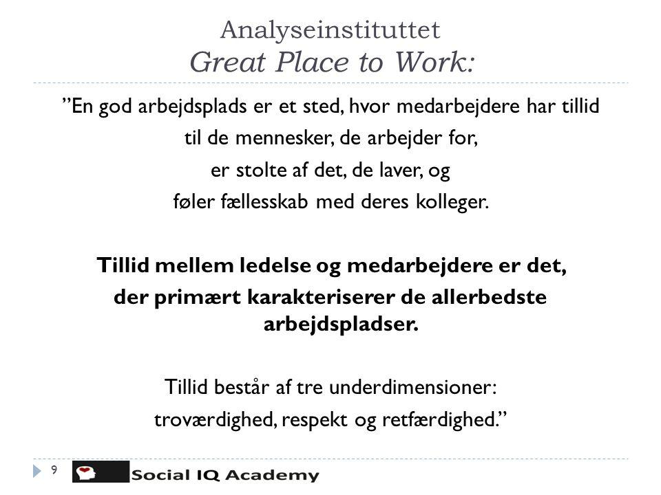 """Analyseinstituttet Great Place to Work: 9 """"En god arbejdsplads er et sted, hvor medarbejdere har tillid til de mennesker, de arbejder for, er stolte a"""