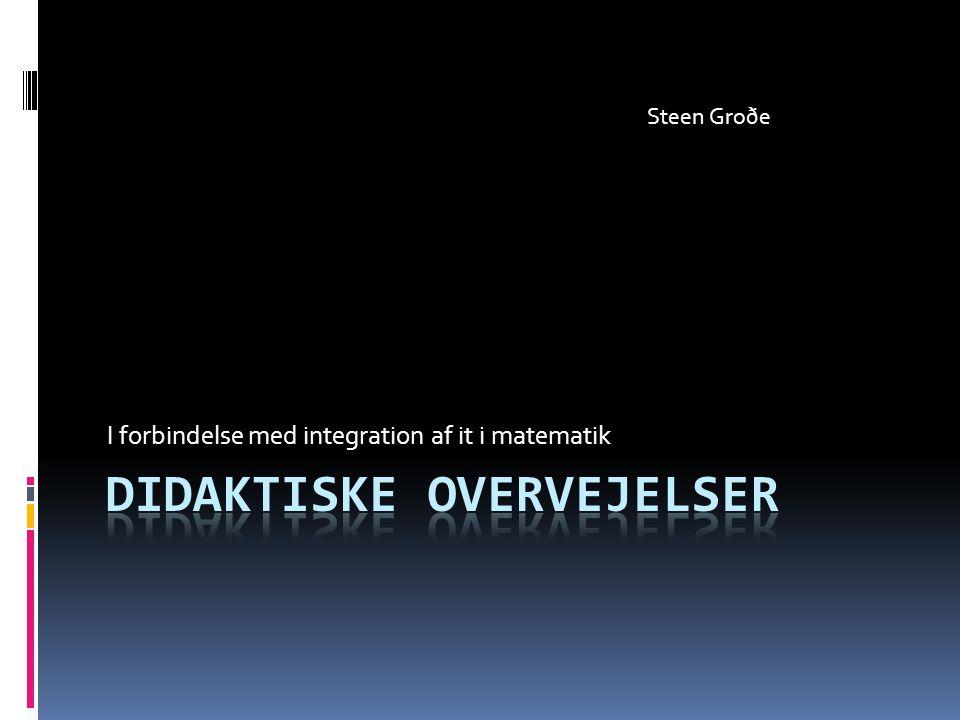 I forbindelse med integration af it i matematik Steen Groðe