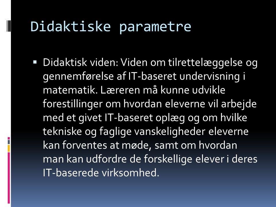 Didaktiske parametre  Didaktisk viden: Viden om tilrettelæggelse og gennemførelse af IT-baseret undervisning i matematik. Læreren må kunne udvikle fo