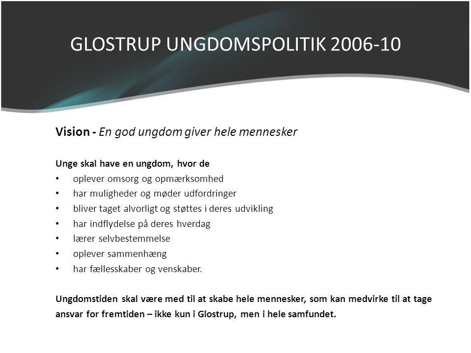 GLOSTRUP UNGDOMSPOLITIK 2006-10 Vision - En god ungdom giver hele mennesker Unge skal have en ungdom, hvor de • oplever omsorg og opmærksomhed • har m