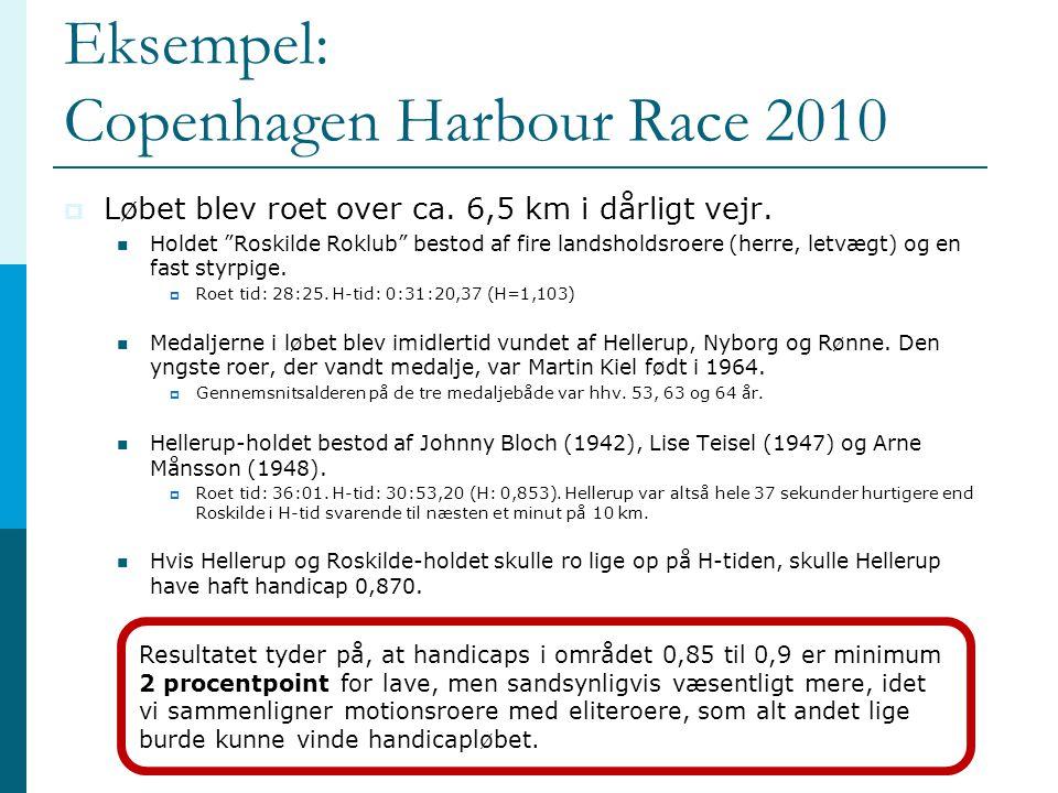 """Eksempel: Copenhagen Harbour Race 2010  Løbet blev roet over ca. 6,5 km i dårligt vejr.  Holdet """"Roskilde Roklub"""" bestod af fire landsholdsroere (he"""