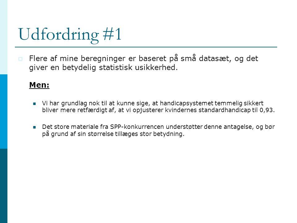 Udfordring #1  Flere af mine beregninger er baseret på små datasæt, og det giver en betydelig statistisk usikkerhed.