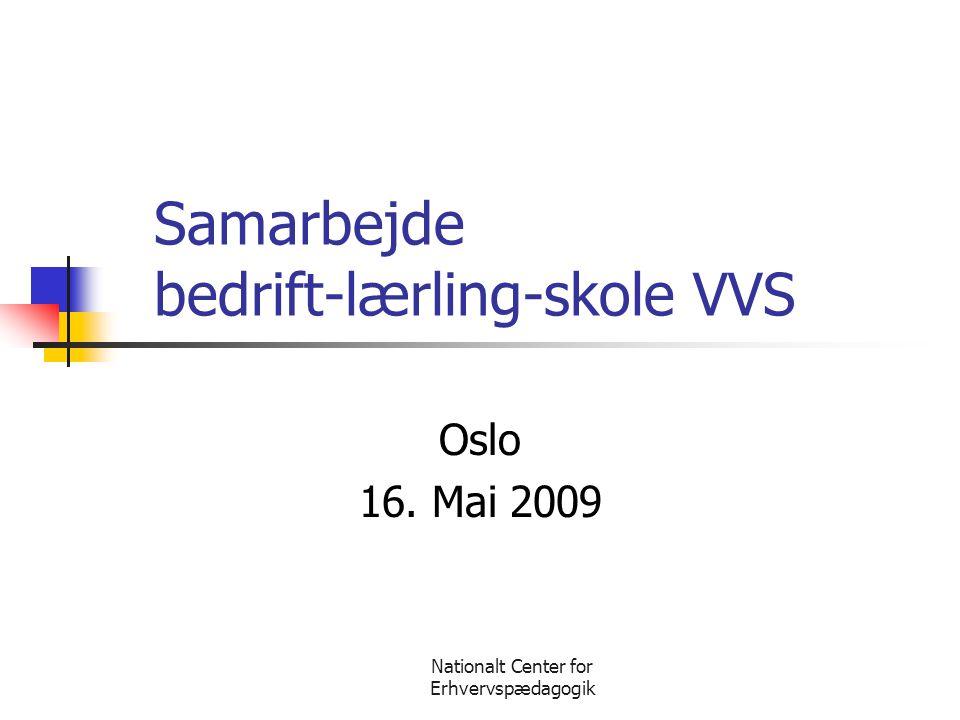 Nationalt Center for Erhvervspædagogik Samarbejde bedrift-lærling-skole VVS Oslo 16. Mai 2009