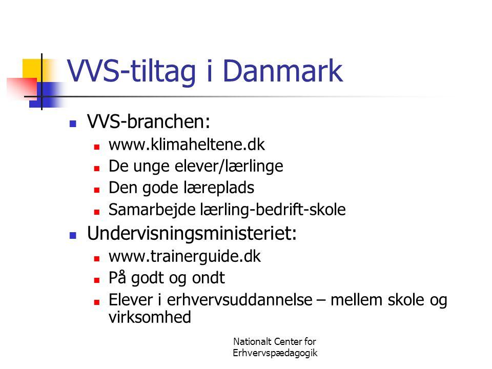 Nationalt Center for Erhvervspædagogik VVS-tiltag i Danmark  VVS-branchen:  www.klimaheltene.dk  De unge elever/lærlinge  Den gode læreplads  Sam
