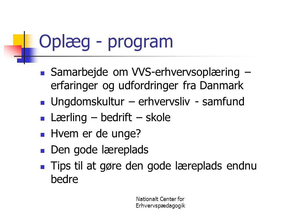 Nationalt Center for Erhvervspædagogik Oplæg - program  Samarbejde om VVS-erhvervsoplæring – erfaringer og udfordringer fra Danmark  Ungdomskultur –