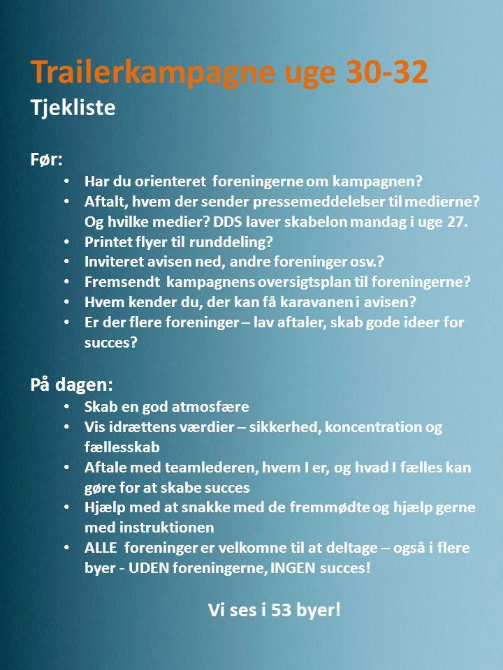 Trailerkampagne uge 30-32 Tjekliste Før: • Har du orienteret foreningerne om kampagnen.