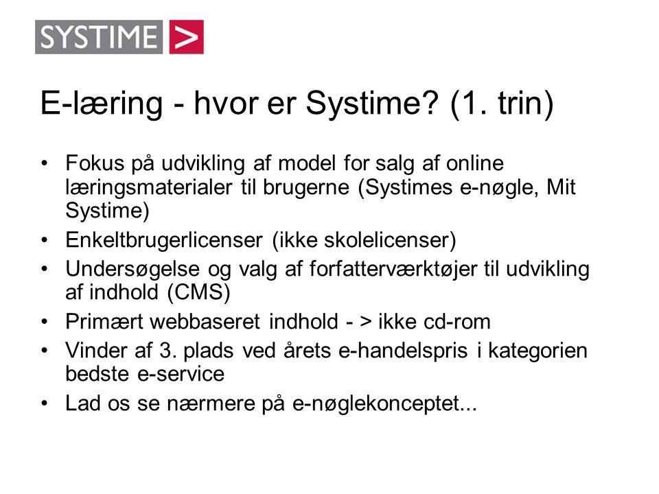 E-læring - hvor er Systime? (1. trin) •Fokus på udvikling af model for salg af online læringsmaterialer til brugerne (Systimes e-nøgle, Mit Systime) •