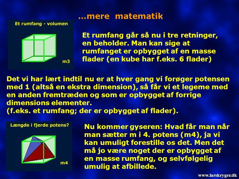 …mere matematik Et rumfang går så nu i tre retninger, en beholder. Man kan sige at rumfanget er opbygget af en masse flader (en kube har f.eks. 6 flad