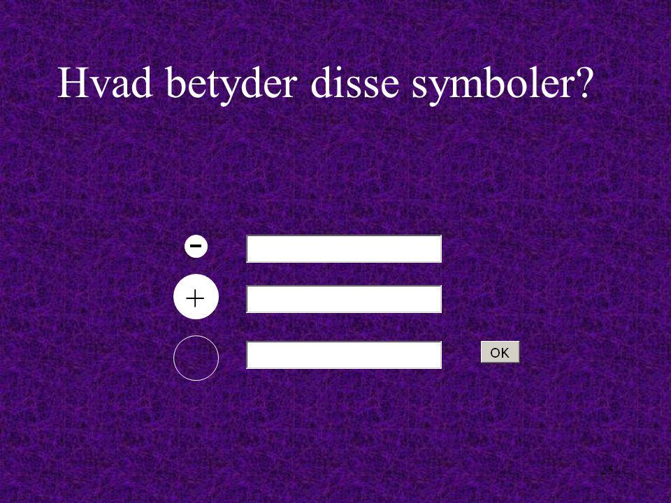 24 Vi vil fremover bruge disse symboler på tegningerne: De afviger kun fra den, du lige har lært ved at ladnings-tegnet er blevet sat på.