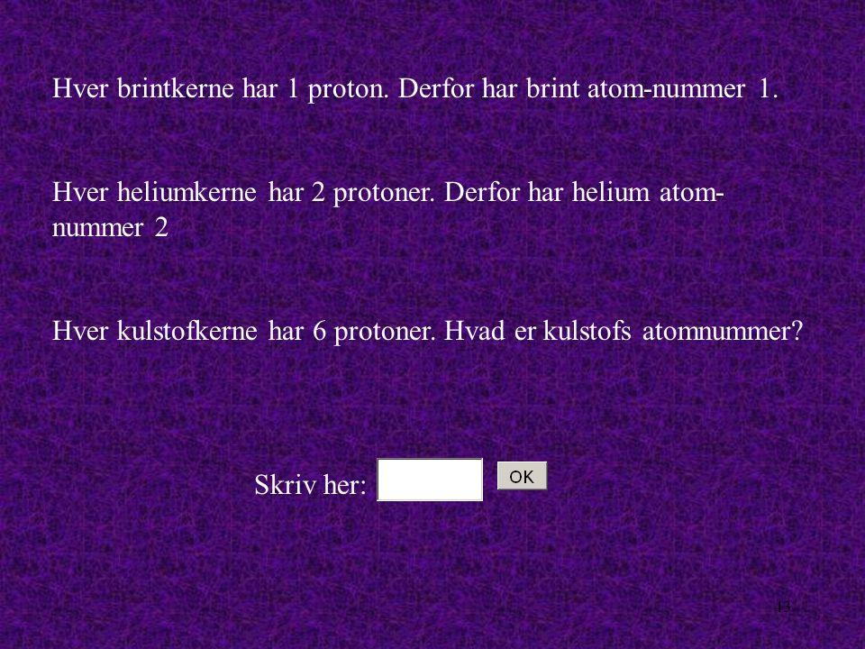 42 Hvert grundstof kendetegnes ved, at det har et bestemt antal protoner i atomkernen Hvis to atomer har samme antal protoner i kernen, så er de altså atomer fra det samme grundstof.