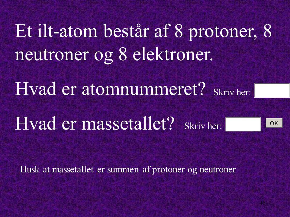 45 Hvert grundstof har sit eget atomnummer. Hvad angiver atomnummeret antallet af?