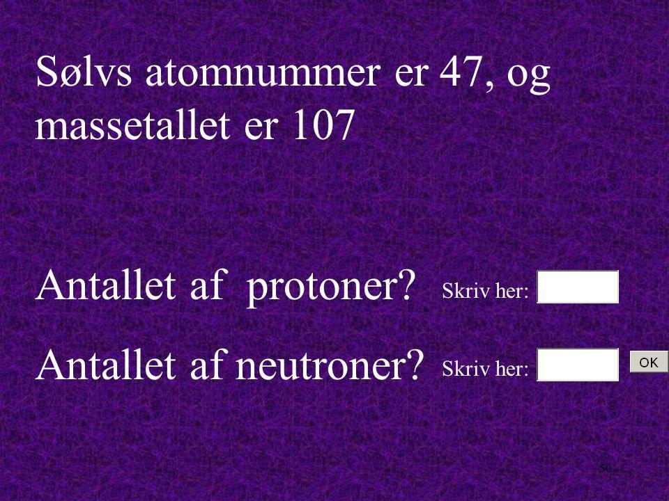 49 Natriums atomnummer er 11, og massetallet er 23 Antallet af protoner.