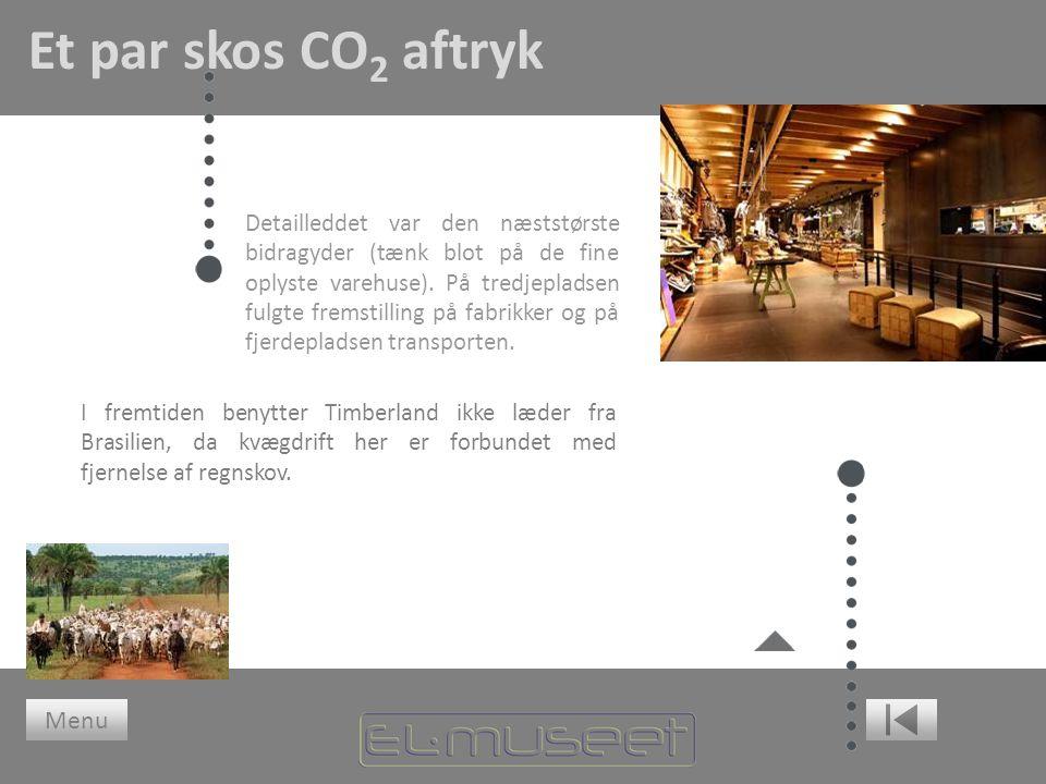 Et par skos CO 2 aftryk Detailleddet var den næststørste bidragyder (tænk blot på de fine oplyste varehuse).
