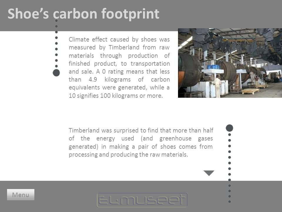 Shoe's carbon footprint Climate effect caused by shoes was measured by Timberland from raw materials through production of finished product, to transportation and sale.